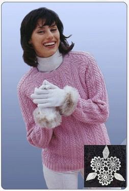 Пуловер реглан с узорными полосами