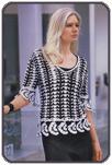 Чёрно-белый пуловер с планками из «ракушек»