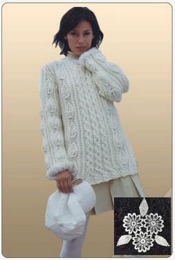 Пуловер с отделкой под мех