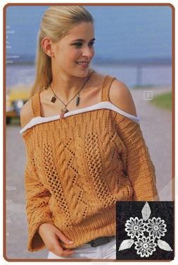 Ажурный пуловер с вырезом «кармен»
