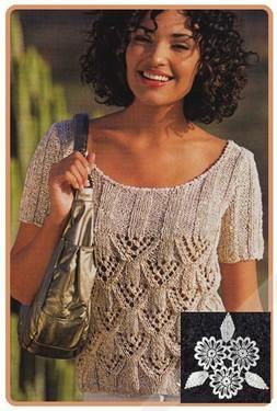 Бежевый меланжевый пуловер из ажурного узора