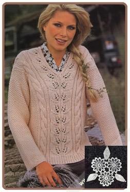 Пуловер с V-образным вырезом, узорной полосой и косами