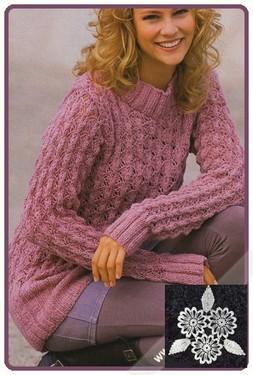 Пуловер из ажурного узора с ромбами