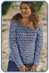 Светло-голубой ажурный пуловер