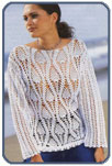Белый пуловер с узором Ананас